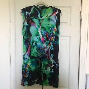 Real silk asymmetric dress
